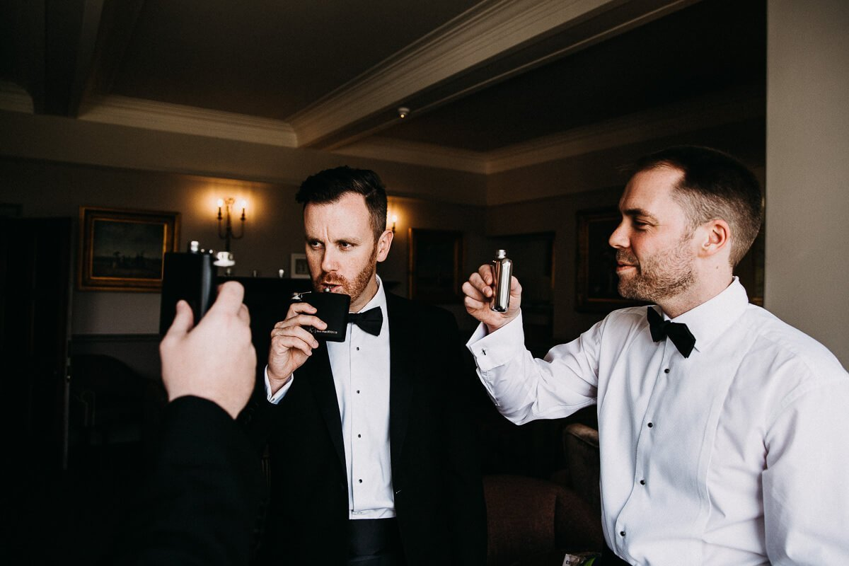 Black tie wedding drinks