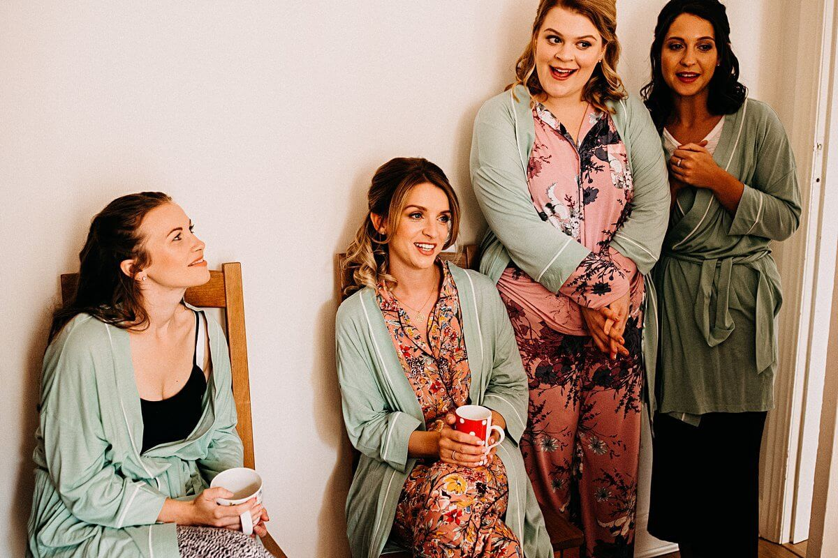 Bridesmaids wearing matching pyjamas
