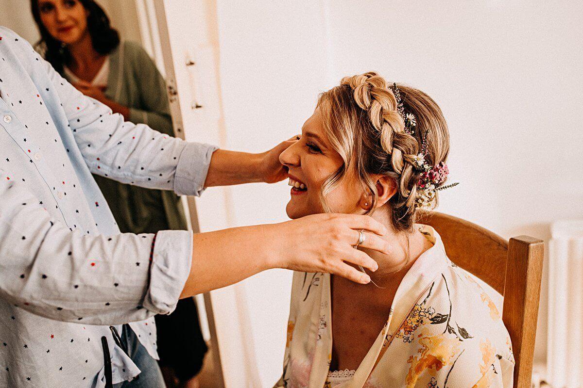 Wedding hair milkmaid crown