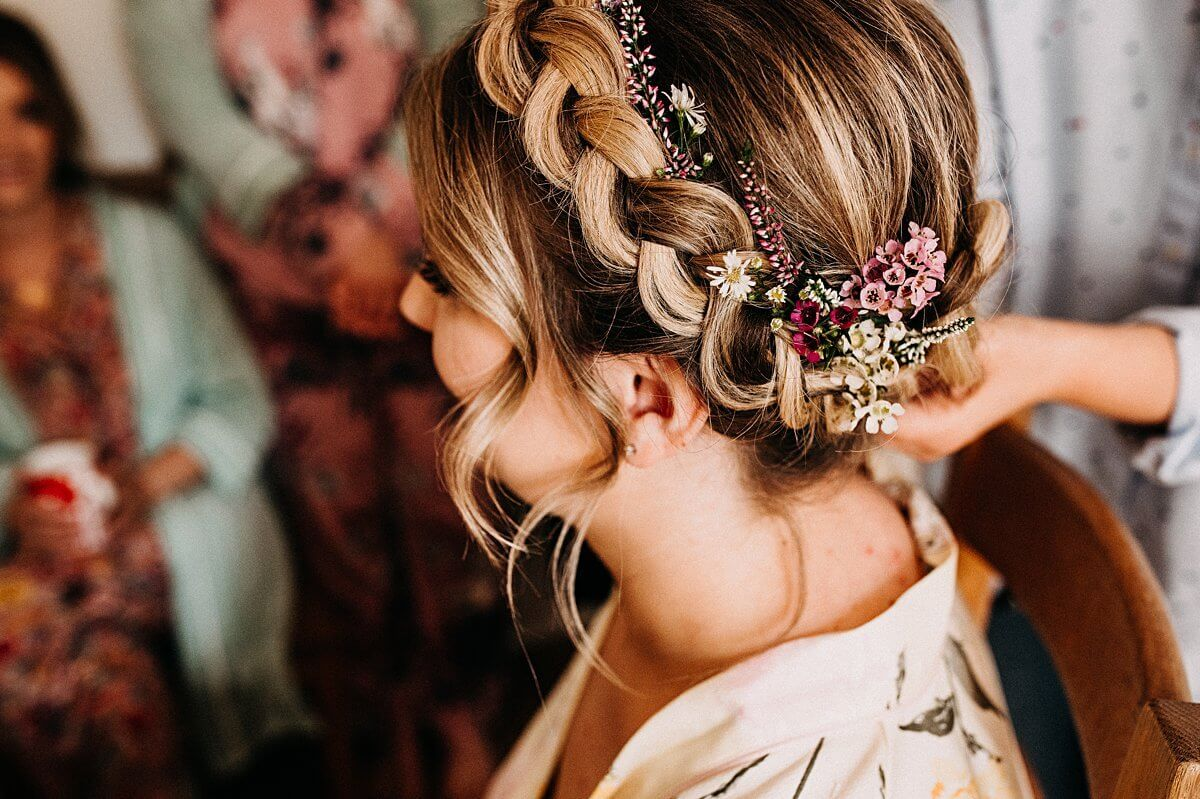 Bridal hair style with flowers