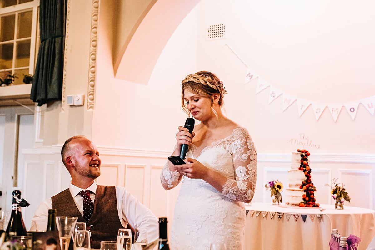 Bride's speech at Bowdon Rooms Cheshire