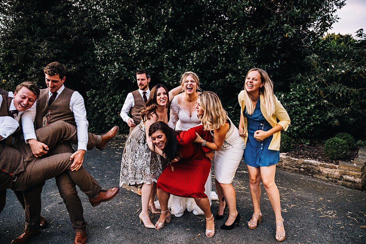 Fun wedding photographs Bowdon Rooms