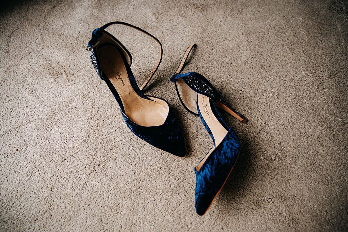 Rachel Simpson Blue velvet and glitter shoes