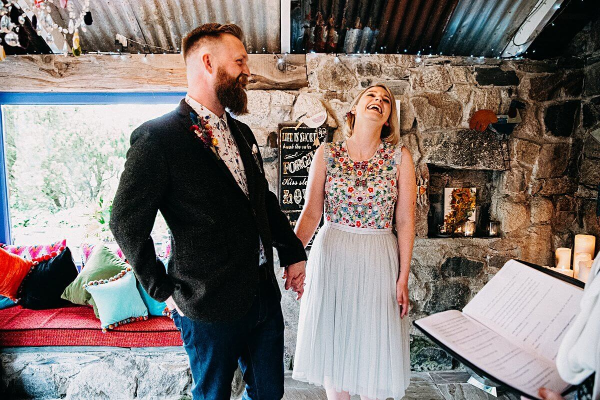 Relaxed elopement wedding Cornwall