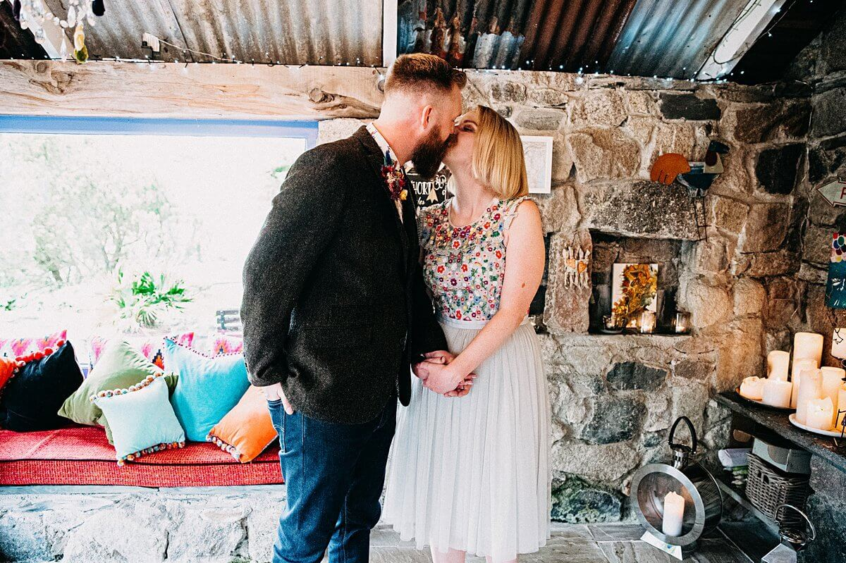 First kiss at Lower Barns wedding
