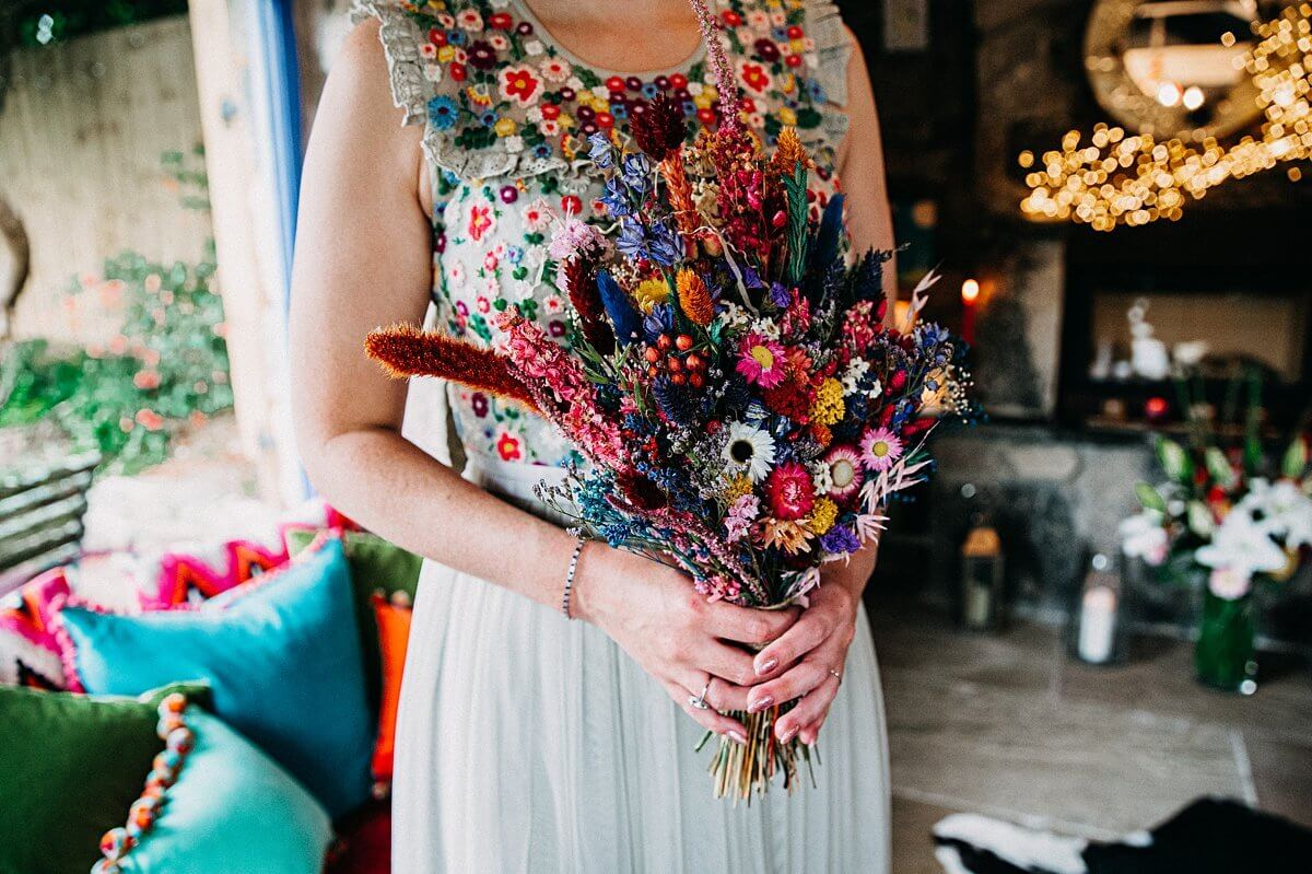 Folky Dokey colourful dried wedding bouquet