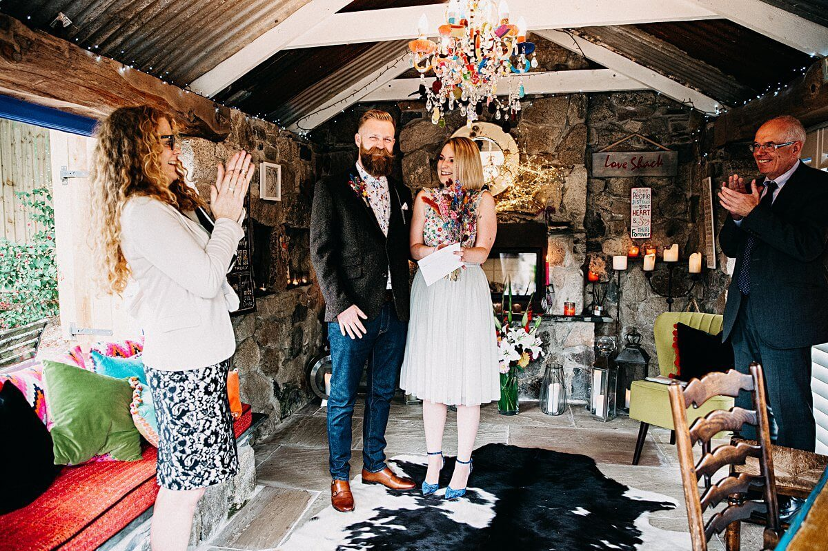 Intimate wedding Lower Barns Cornwall