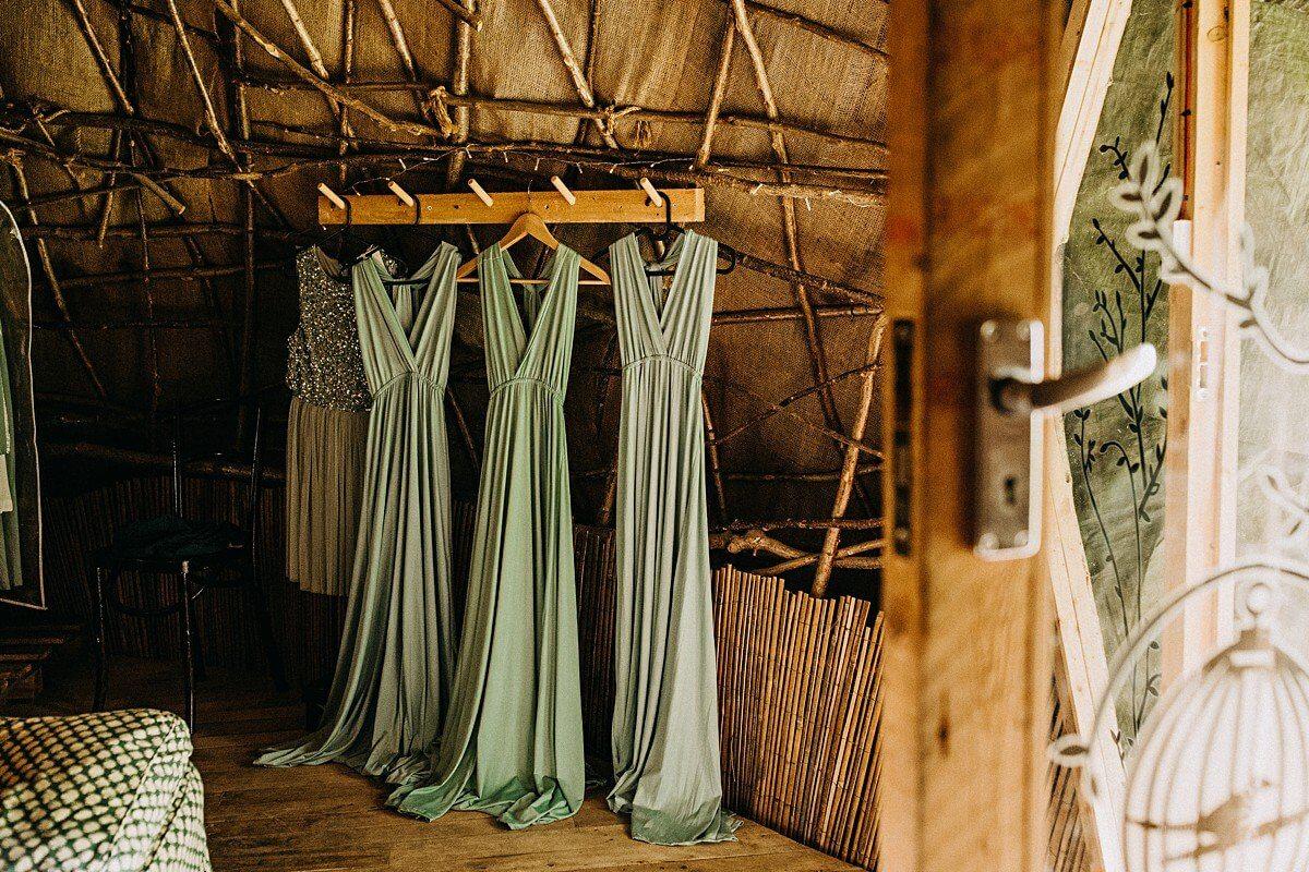 Bridesmaids mint green dresses