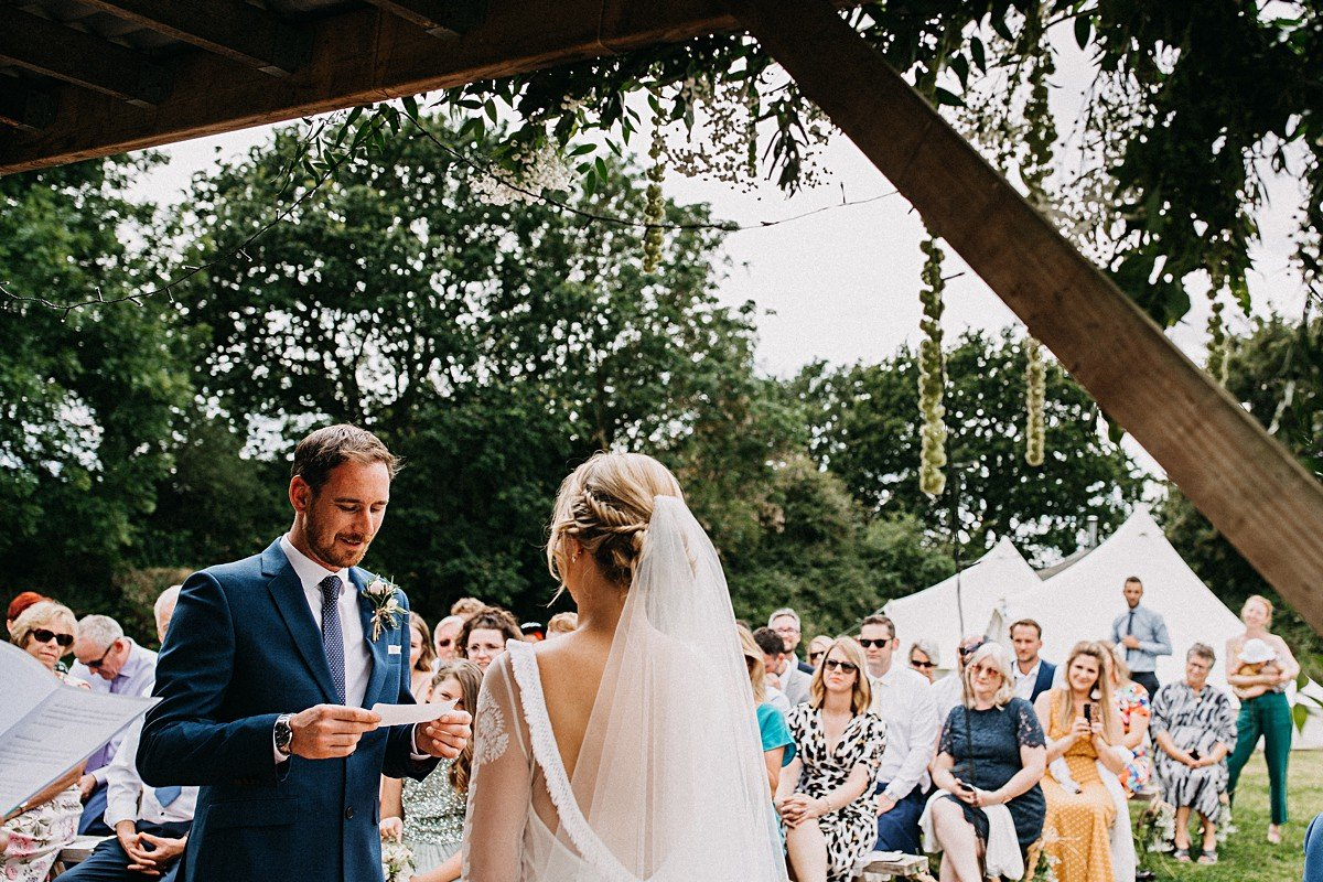 Personal vows at outdoor wedding Norfolk