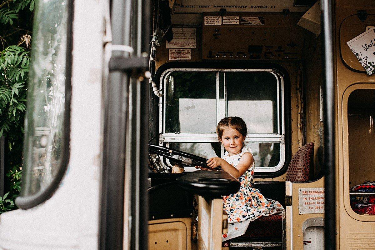 Kids enjoying the wedding bus