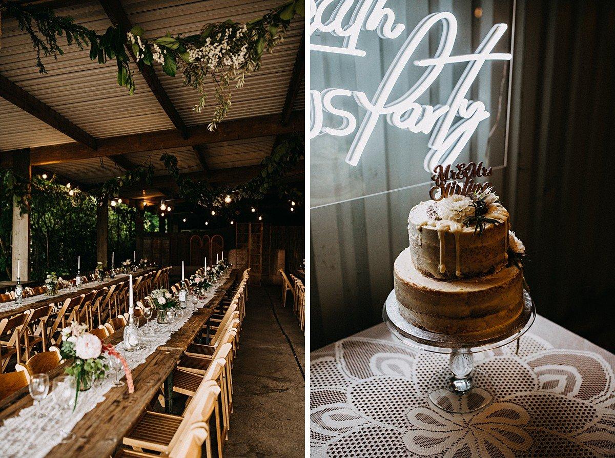 Rustic decor at outdoor wedding