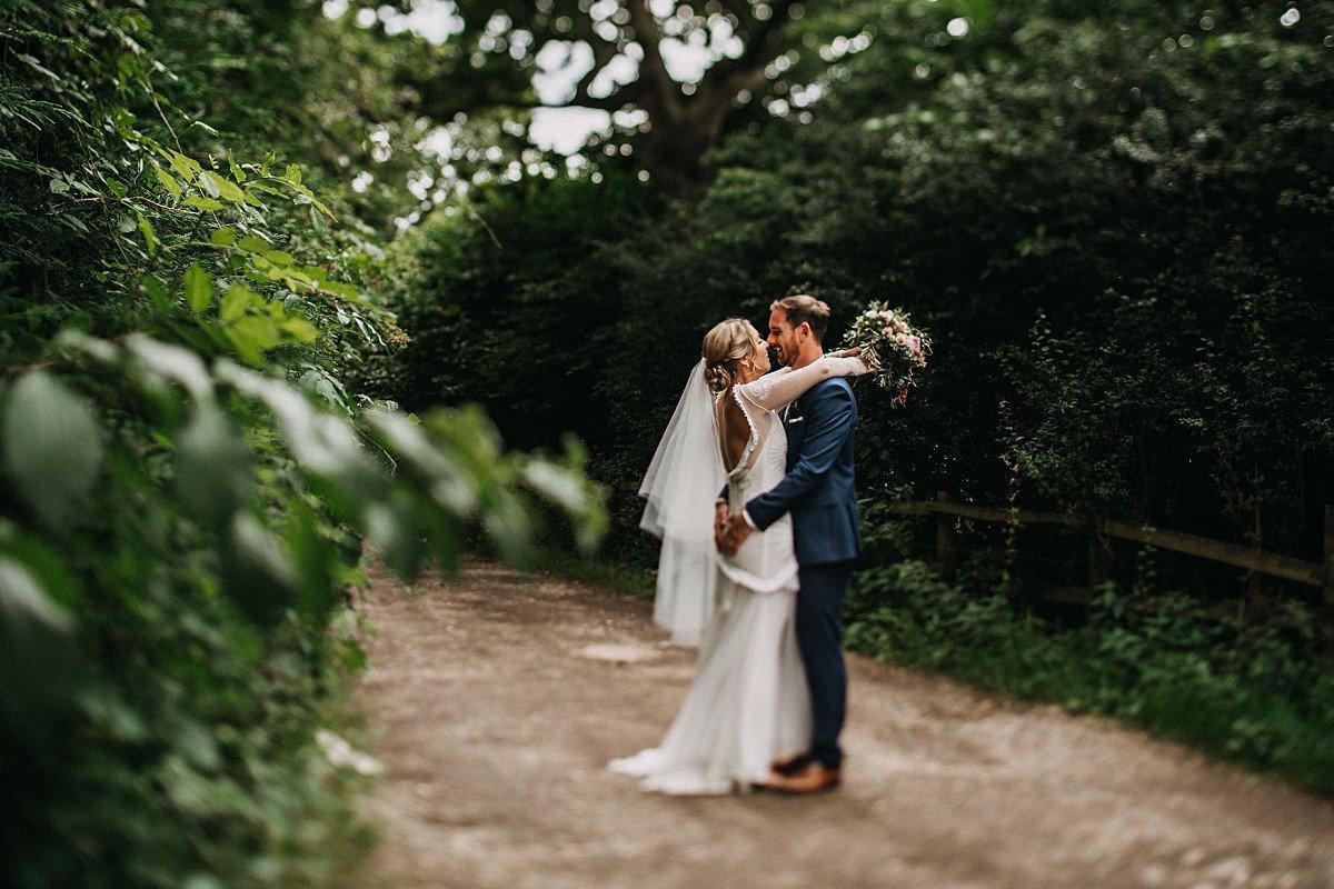 Bride in Boho wedding dress