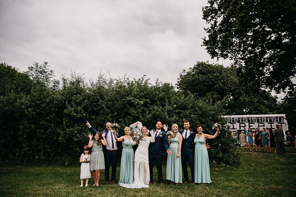 Fun group photo of the bridal party