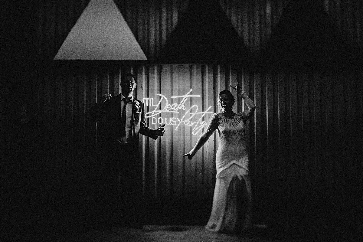 Neon sign wedding portrait