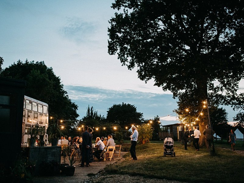 Fire Pit Camp wedding at night