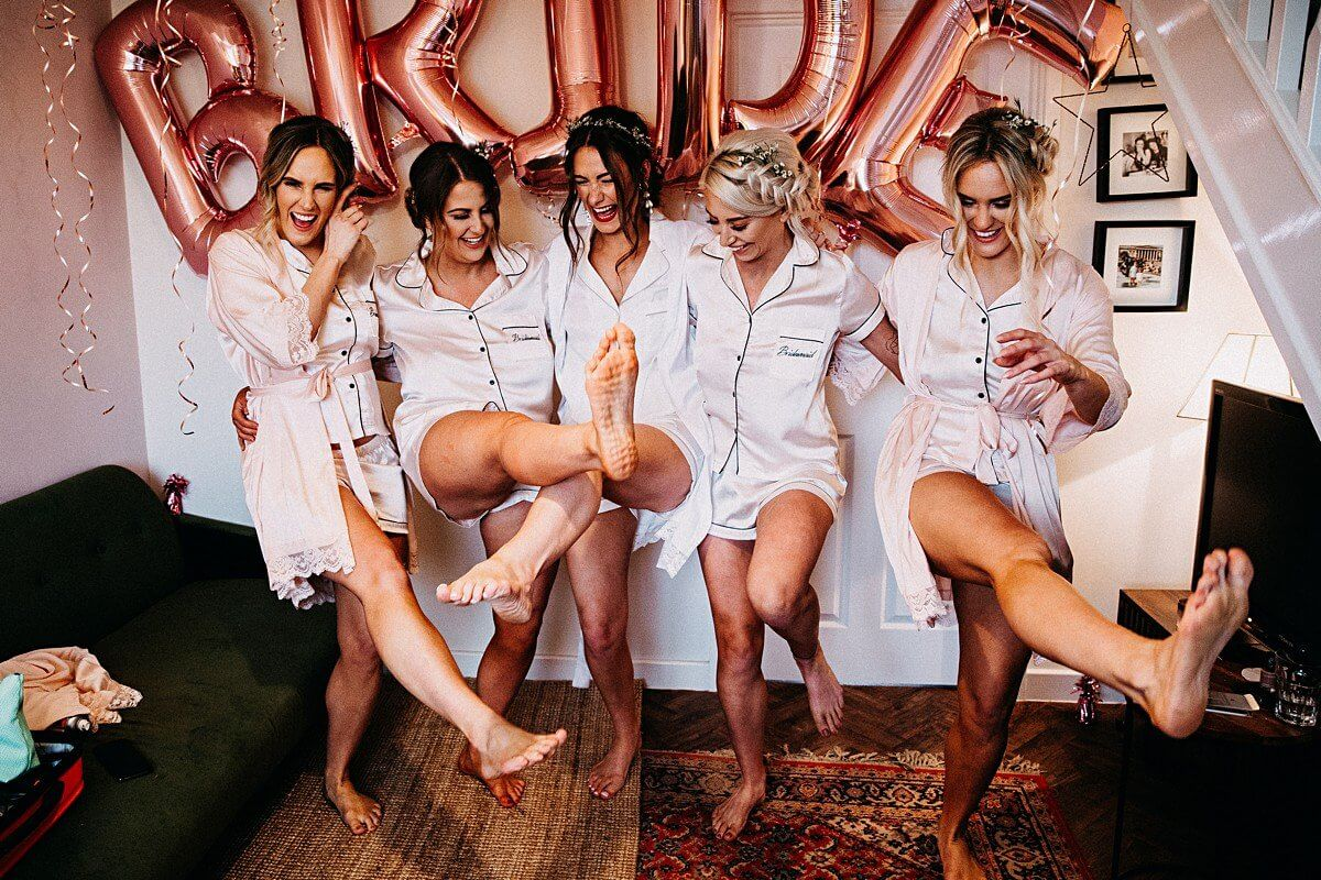 Bridesmaids in matching pyjamas