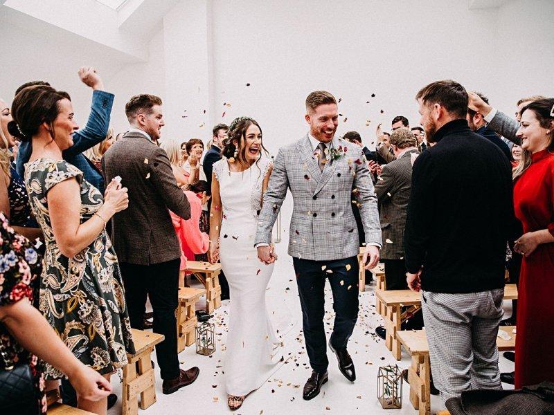 Confetti throwing Manchester wedding