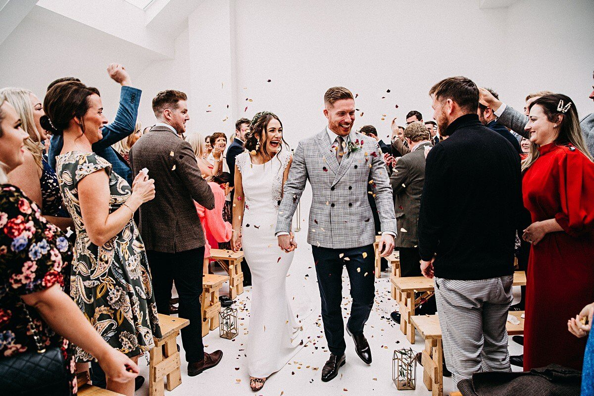 Confetti throwing Manchester wedding