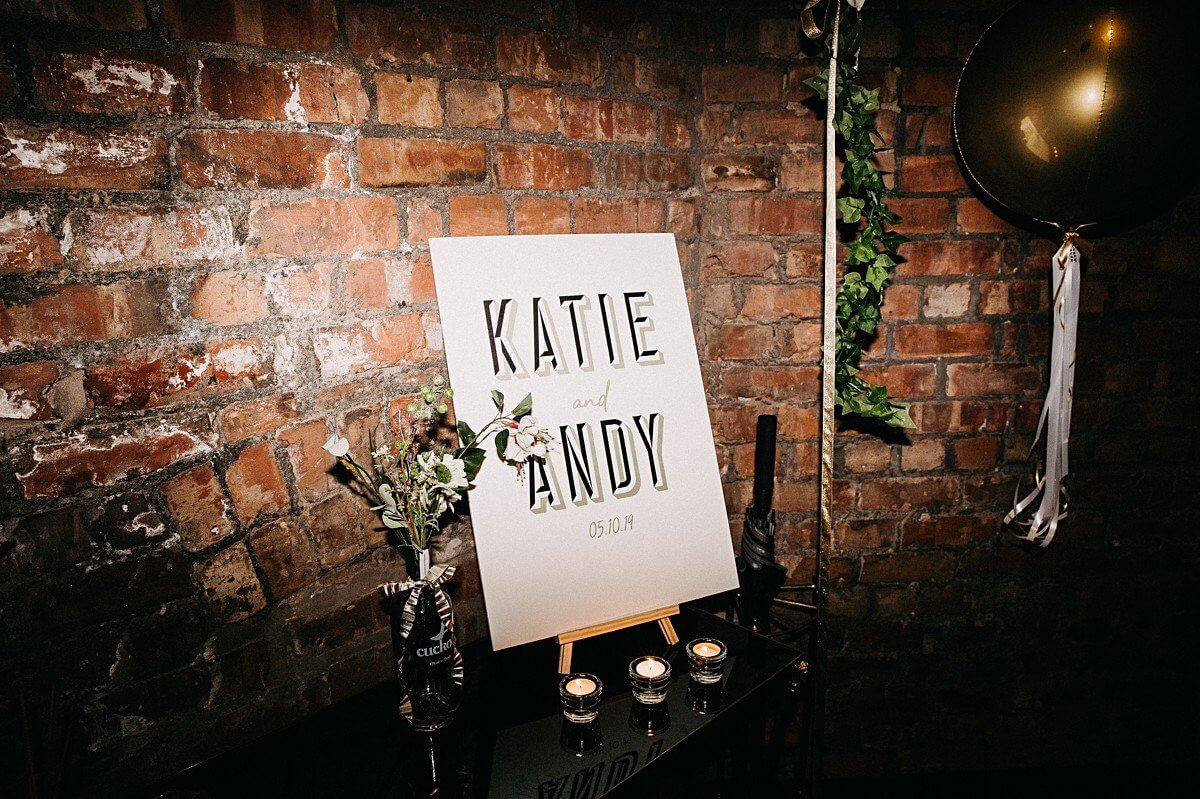 Printed wedding sign