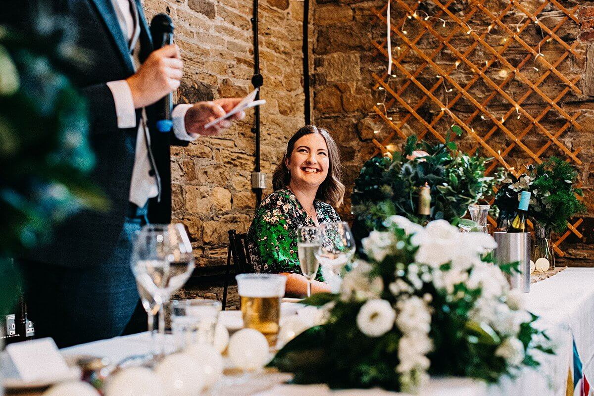 Wedding speeches at barn wedding Yorkshire