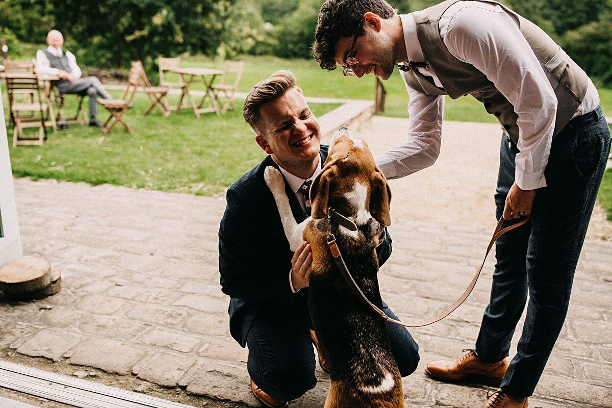 The grooms and their dog
