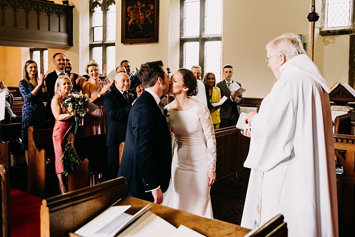 First kiss at the church
