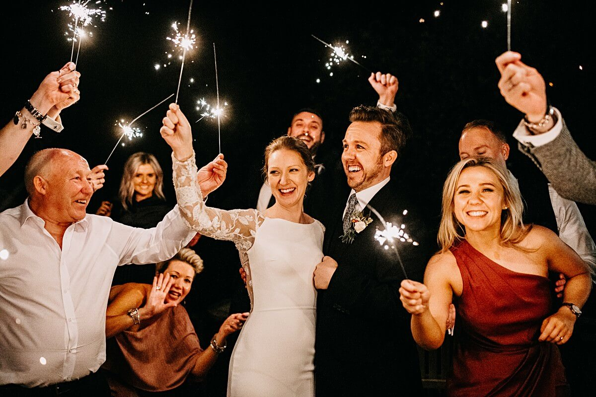 Sparklers at the wedding