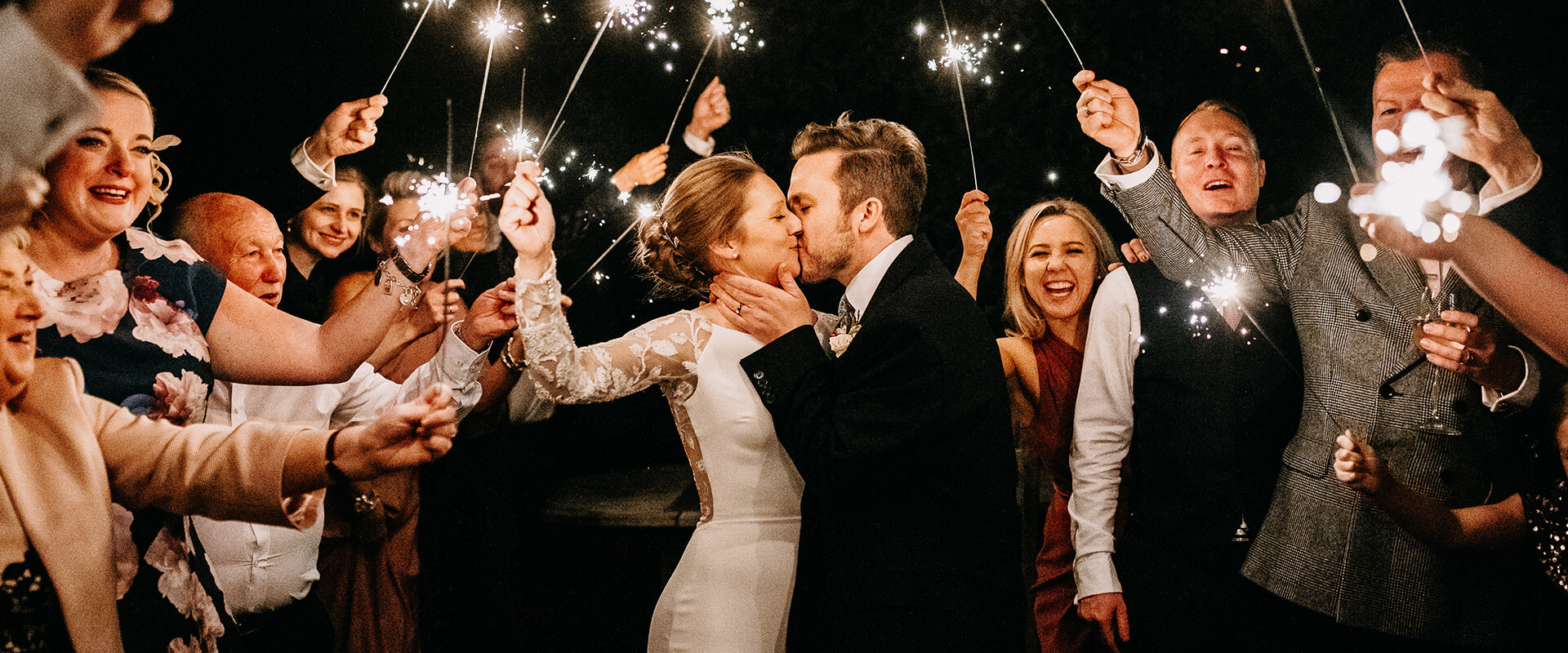 Lancashire wedding with sparklers