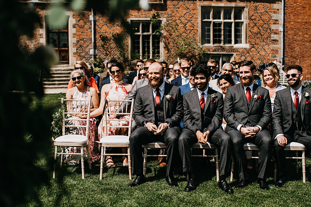 Guests watching the outdoor ceremony in Cheshire