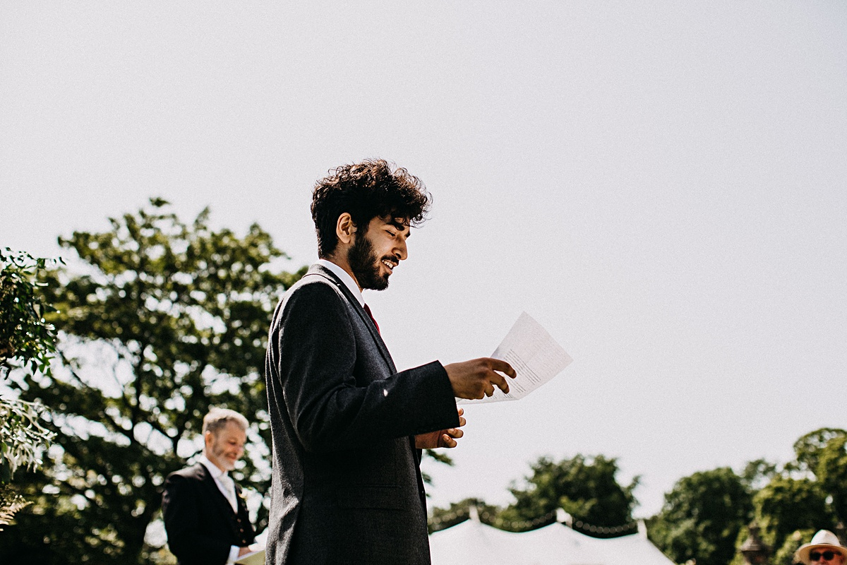 A reading at the outdoor humanist wedding