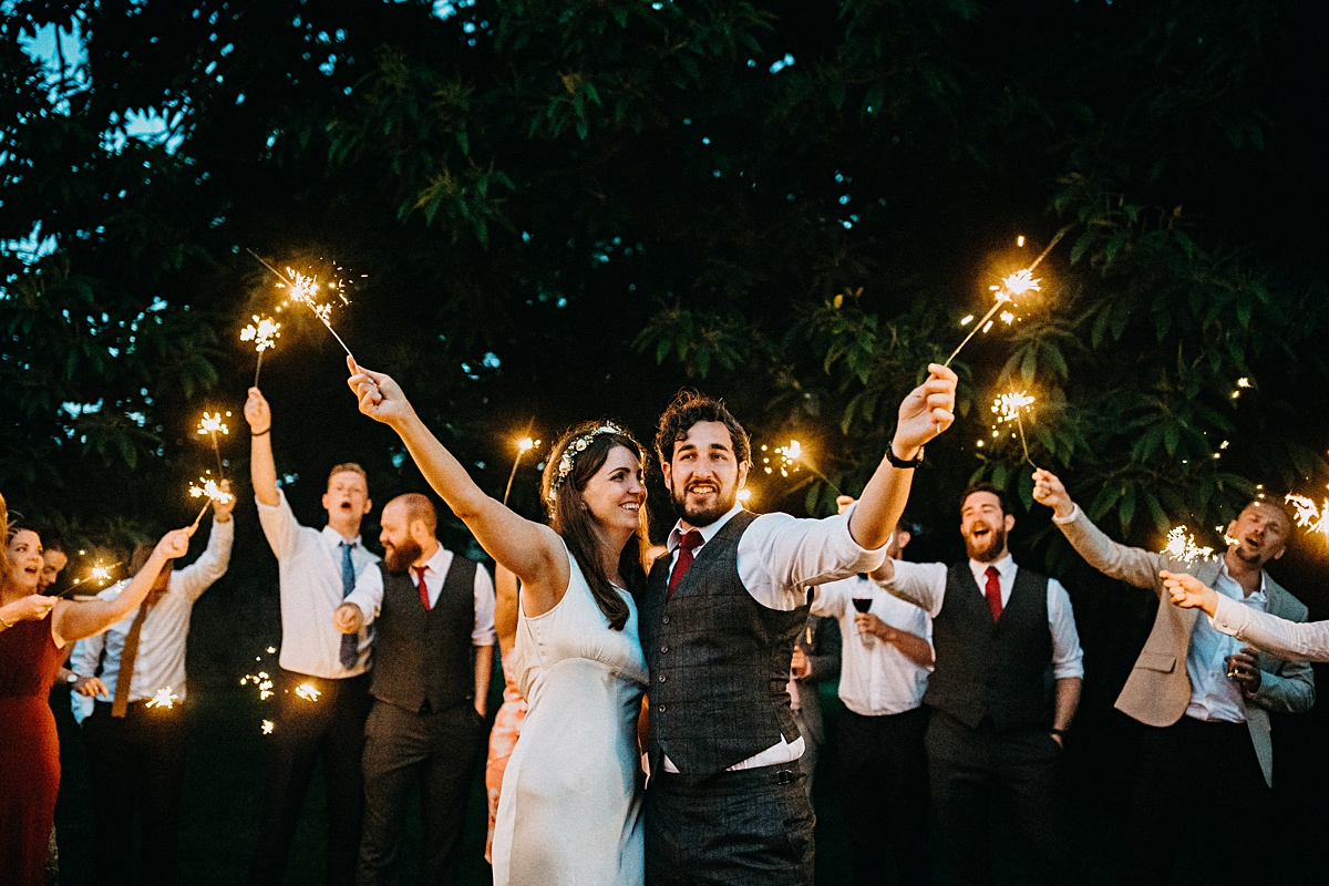 Sparklers at the Dorfold Hall wedding