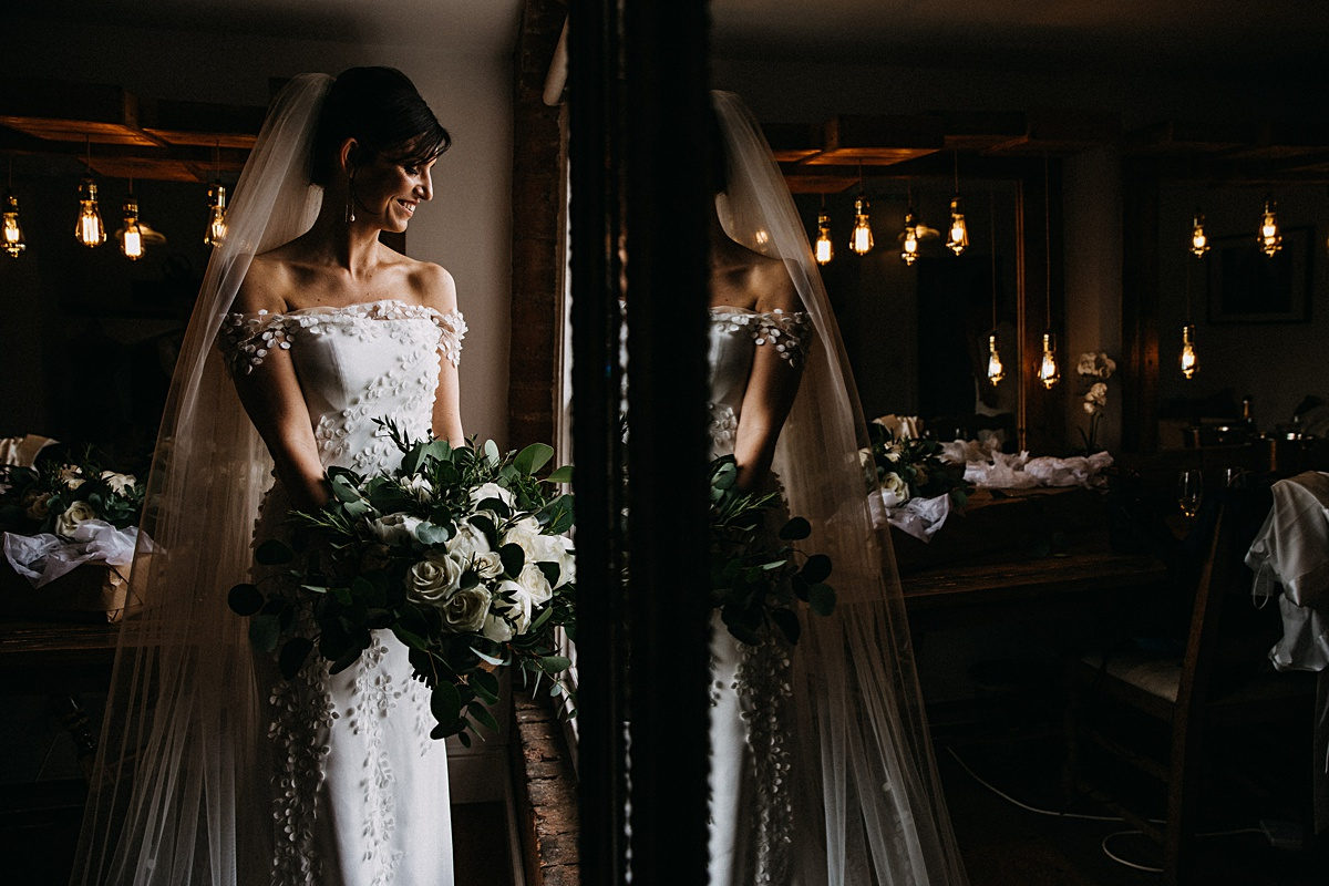 Beautiful portrait of the bride and her bouquet
