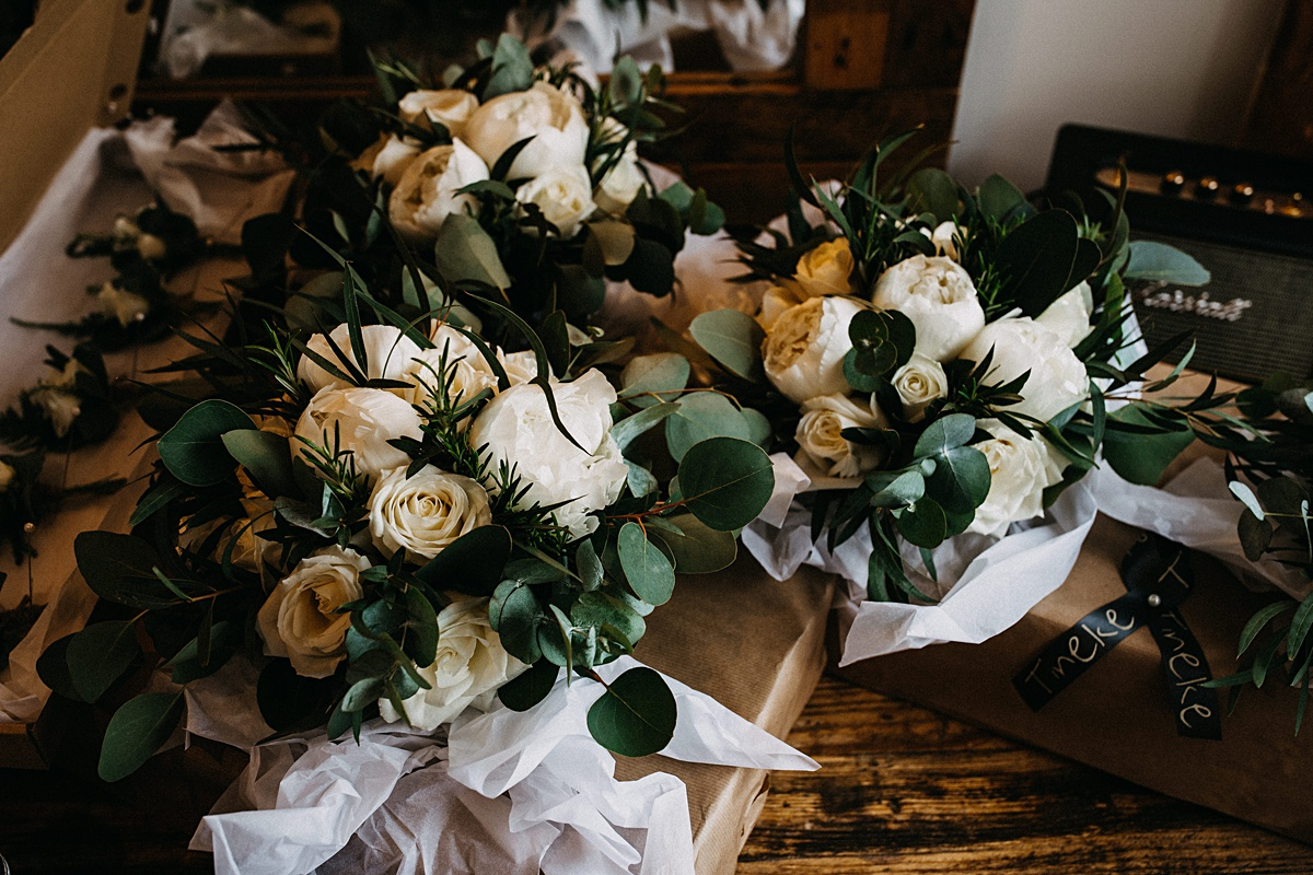 Wedding flowers of white roses