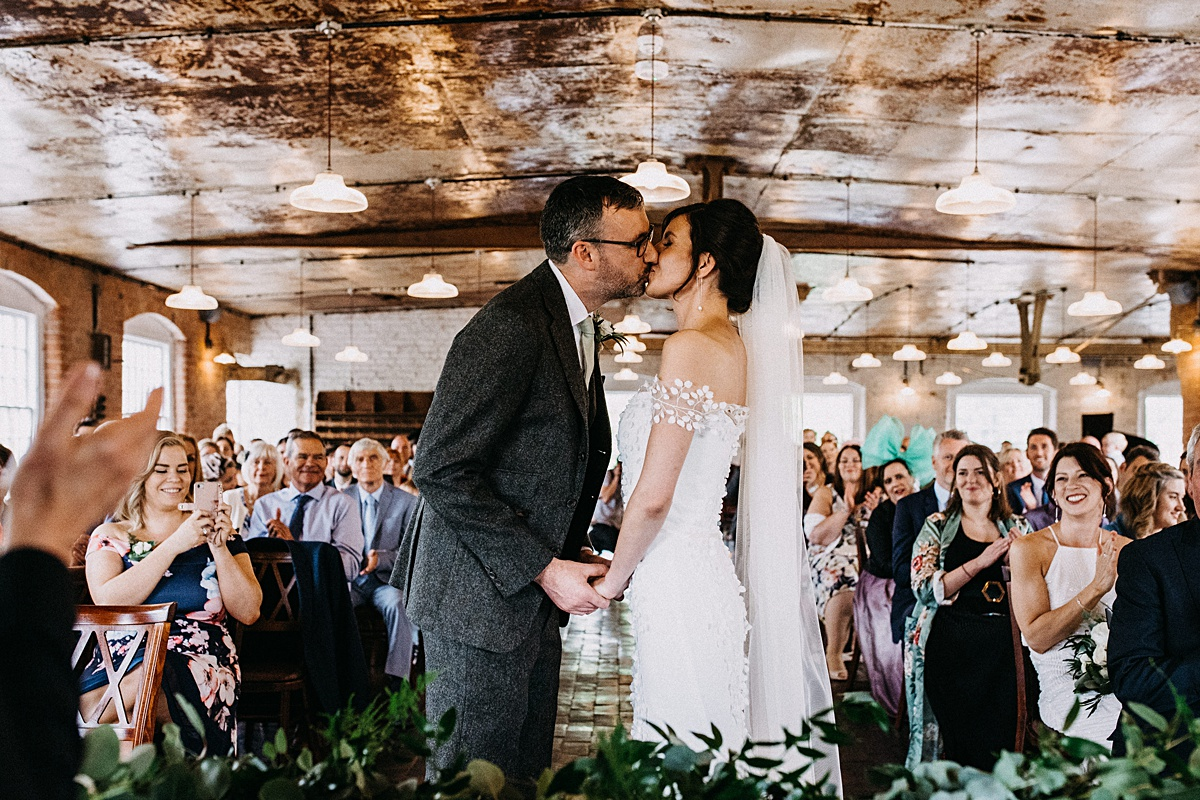 First kiss at west mill wedding