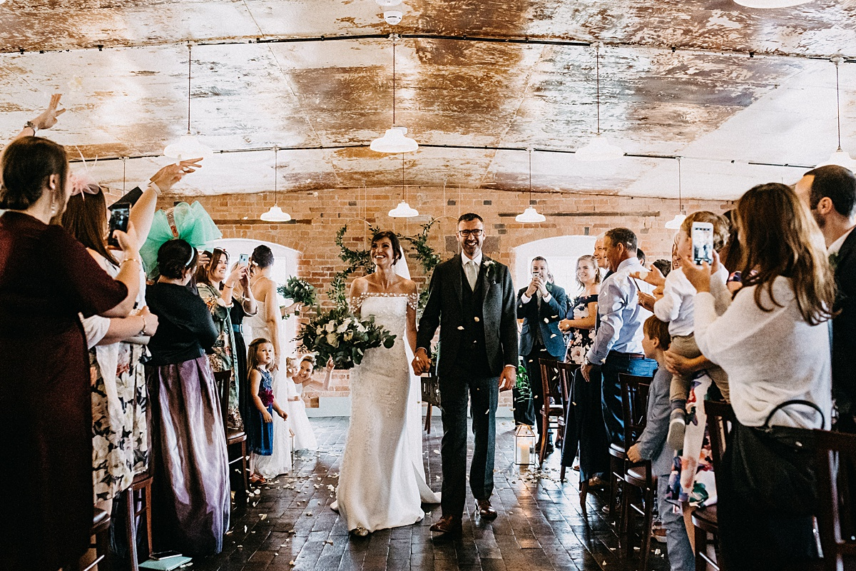 Epic confetti throwing at west mill wedding