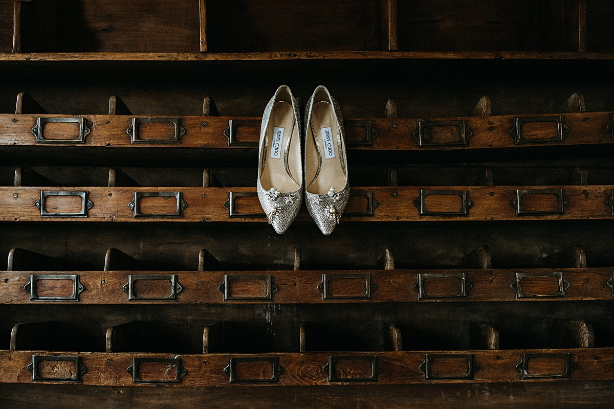 Silver pointed wedding shoes with clips