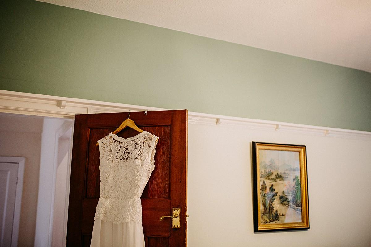 Homemade lace wedding dress