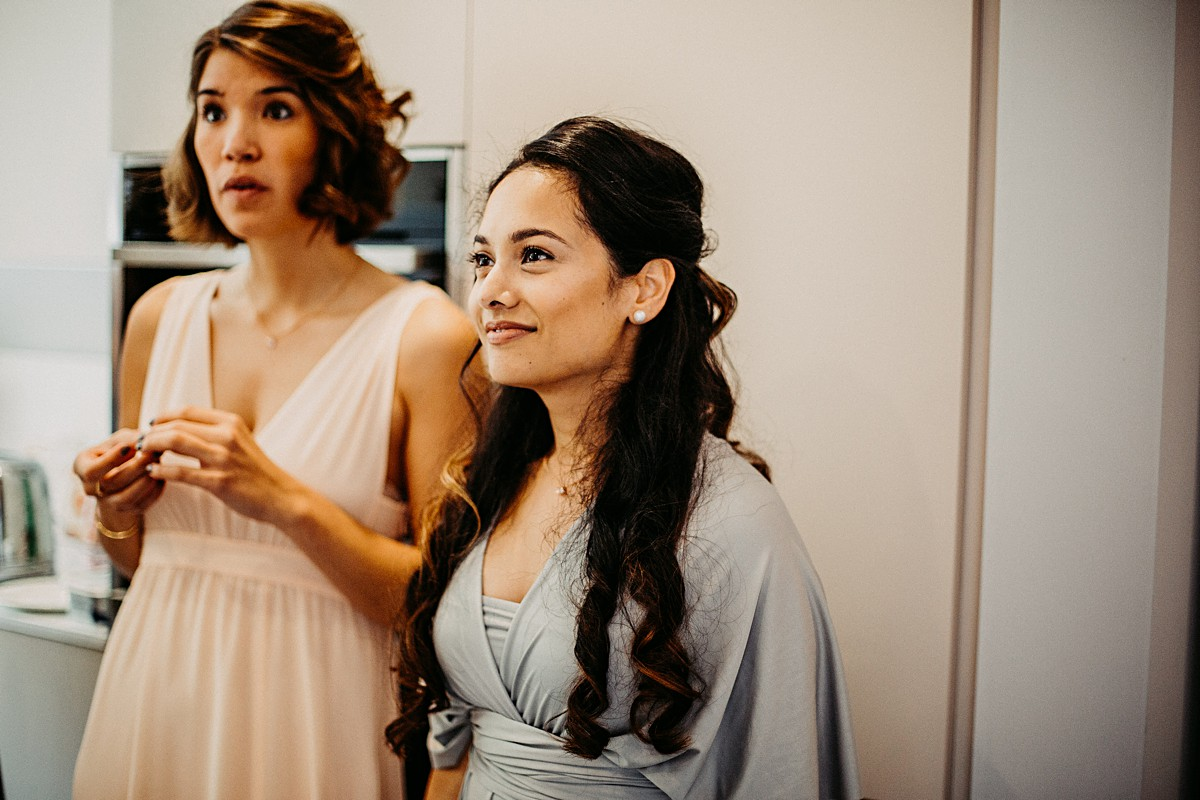Bridesmaids wearing dusty grey dress