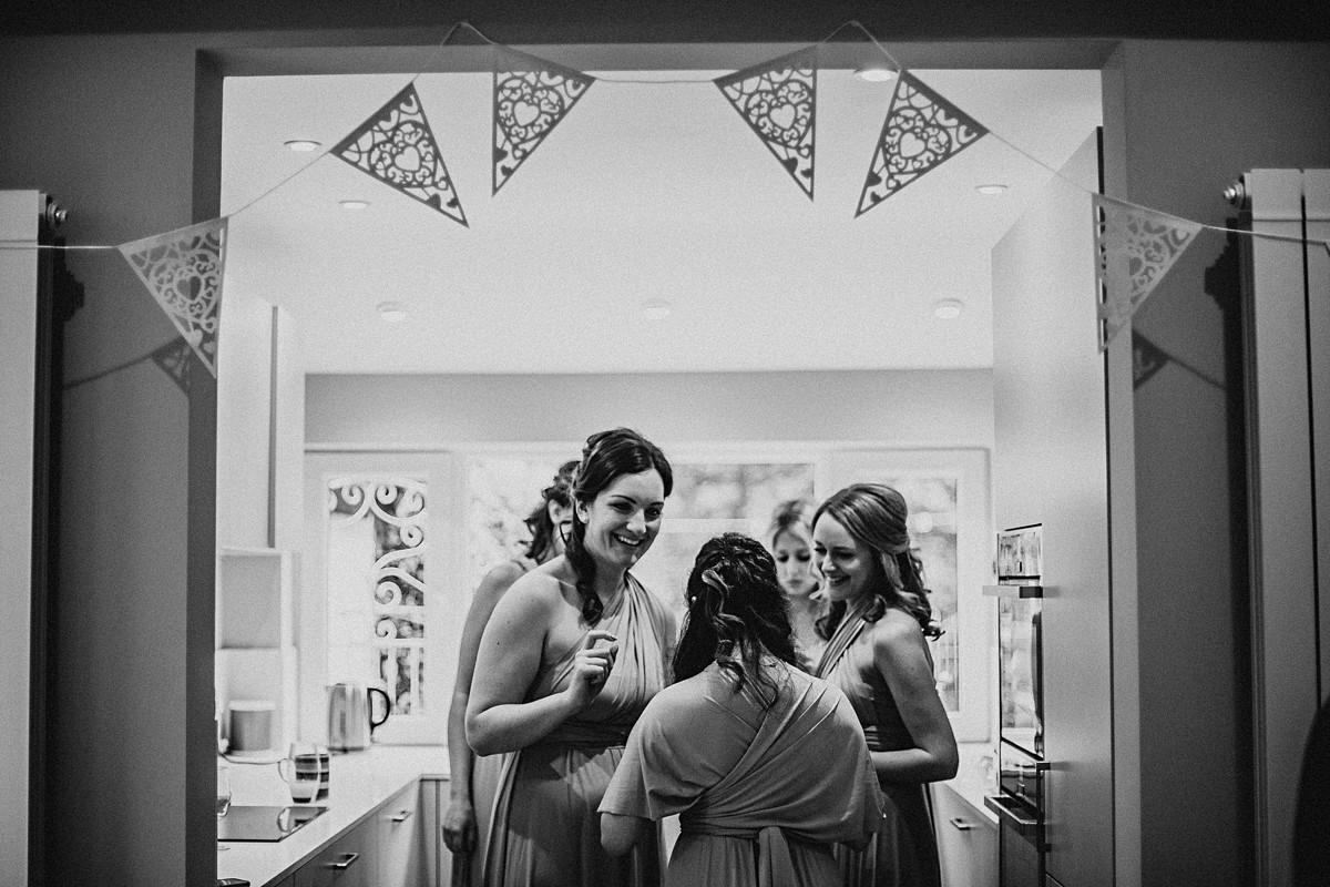 Bridesmaids during bridal prep
