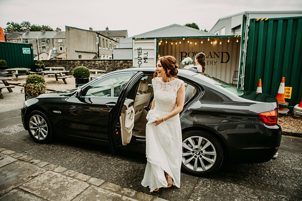 Bride arriving to her Holmes Mill wedding