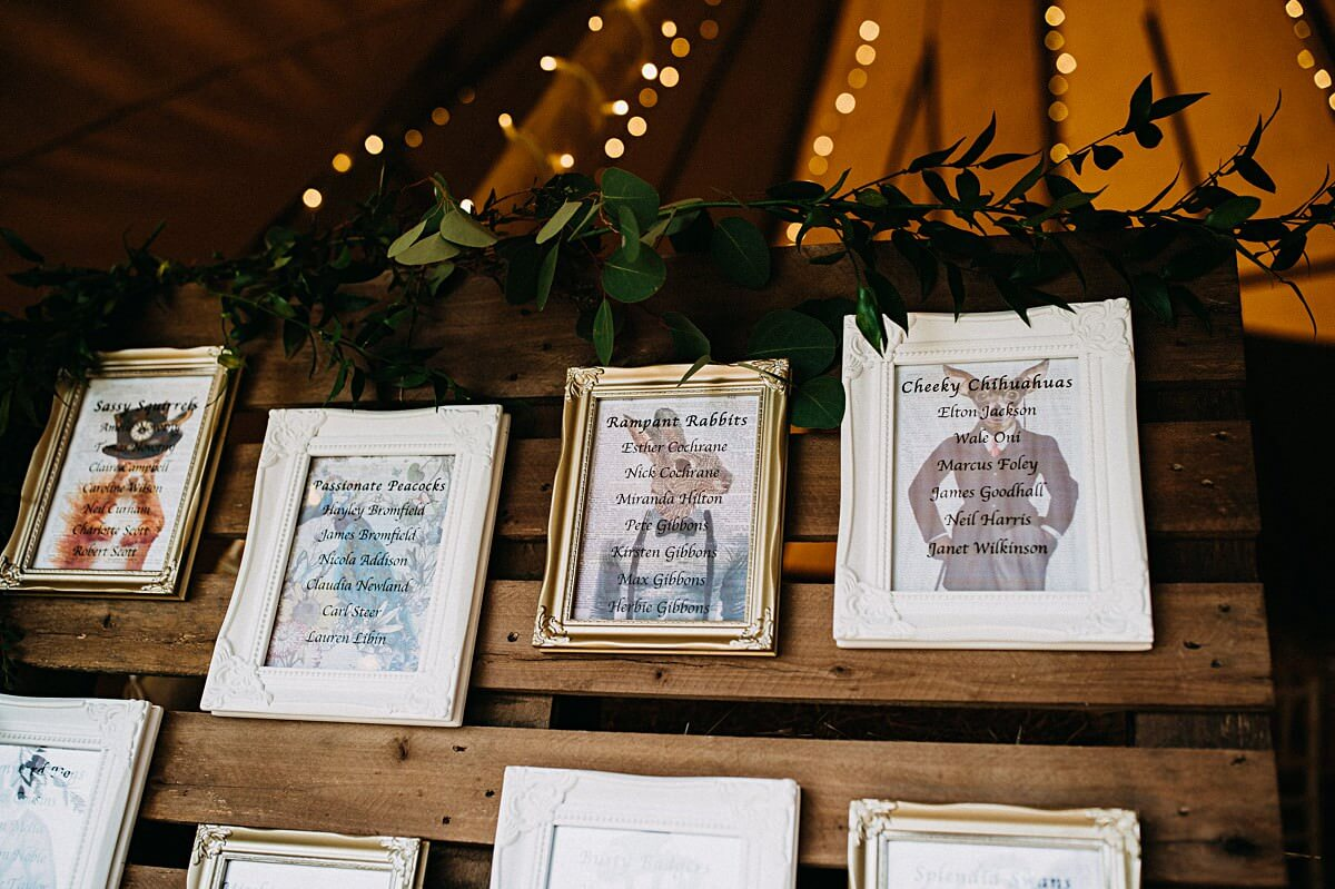 Outdoor tipi wedding rustic table plan