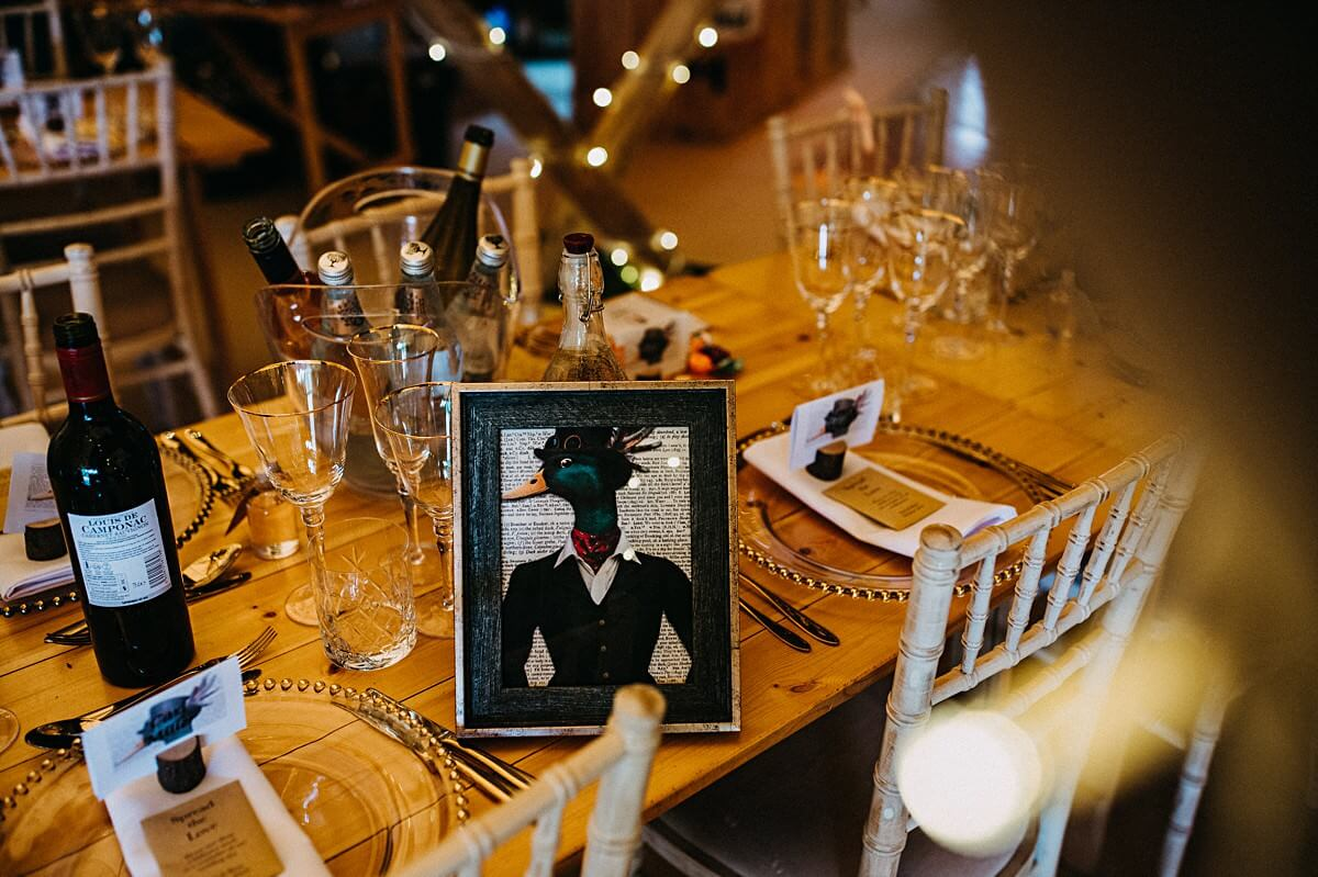 Quirky wedding table centrepieces
