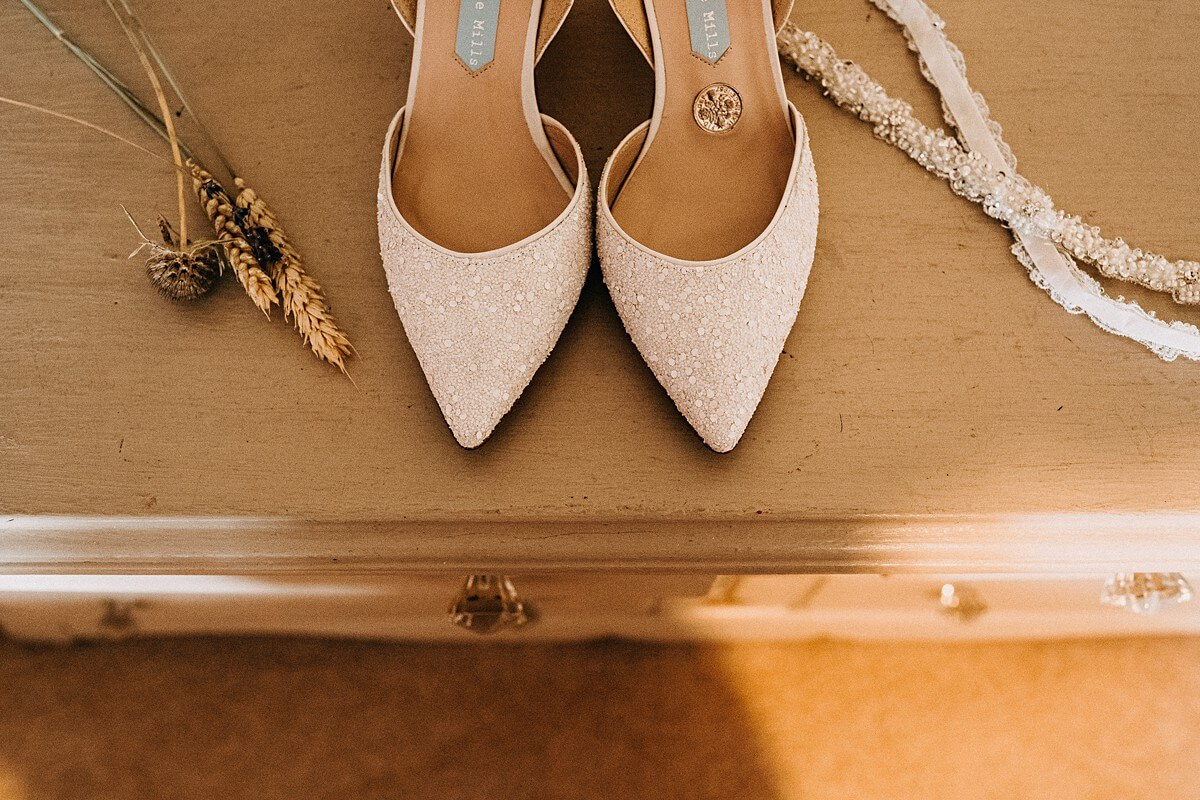 Charlotte Mills white pointed wedding shoes