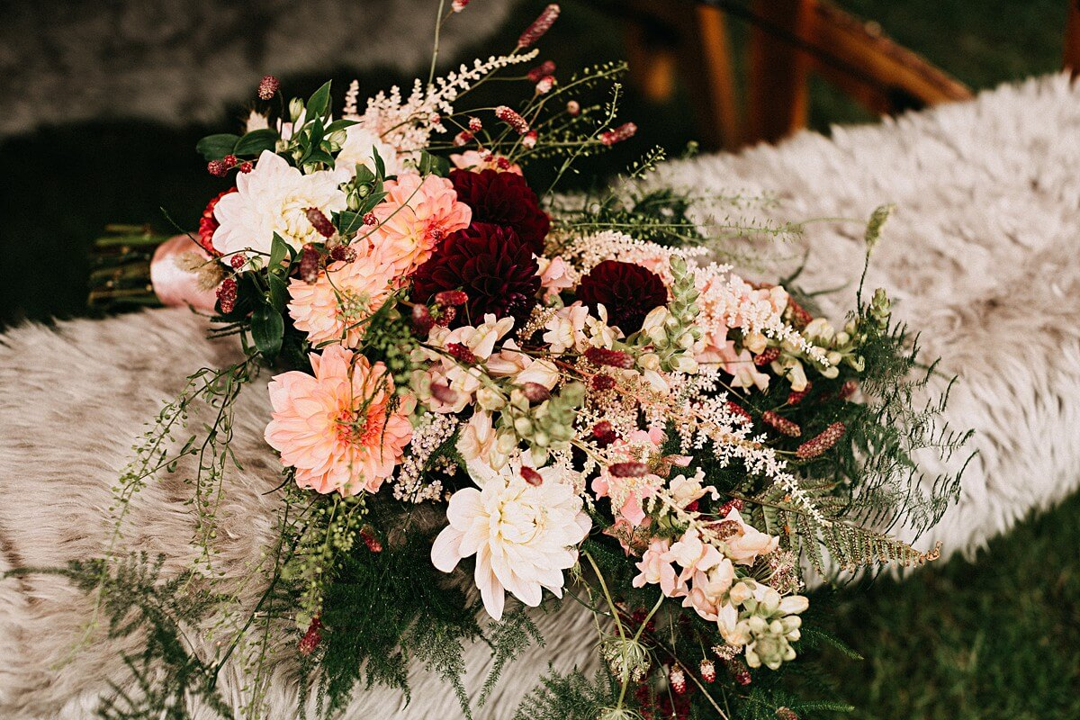 Burgundy and pink wedding flowers