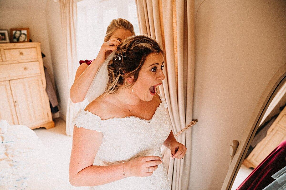 Bride's dress reaction