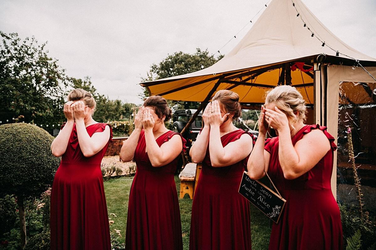 Bridesmaids' reaction to the bride