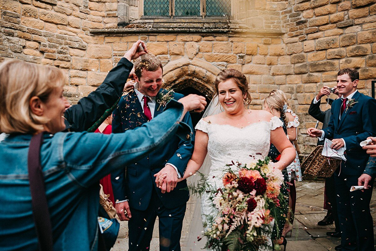 Fun wedding confetti photo