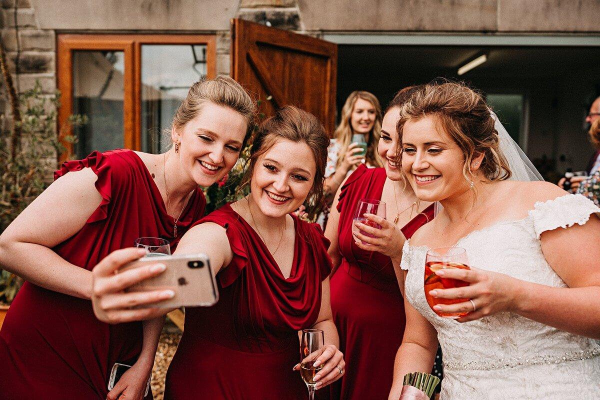 Bridesmaid selfie at the garden wedding