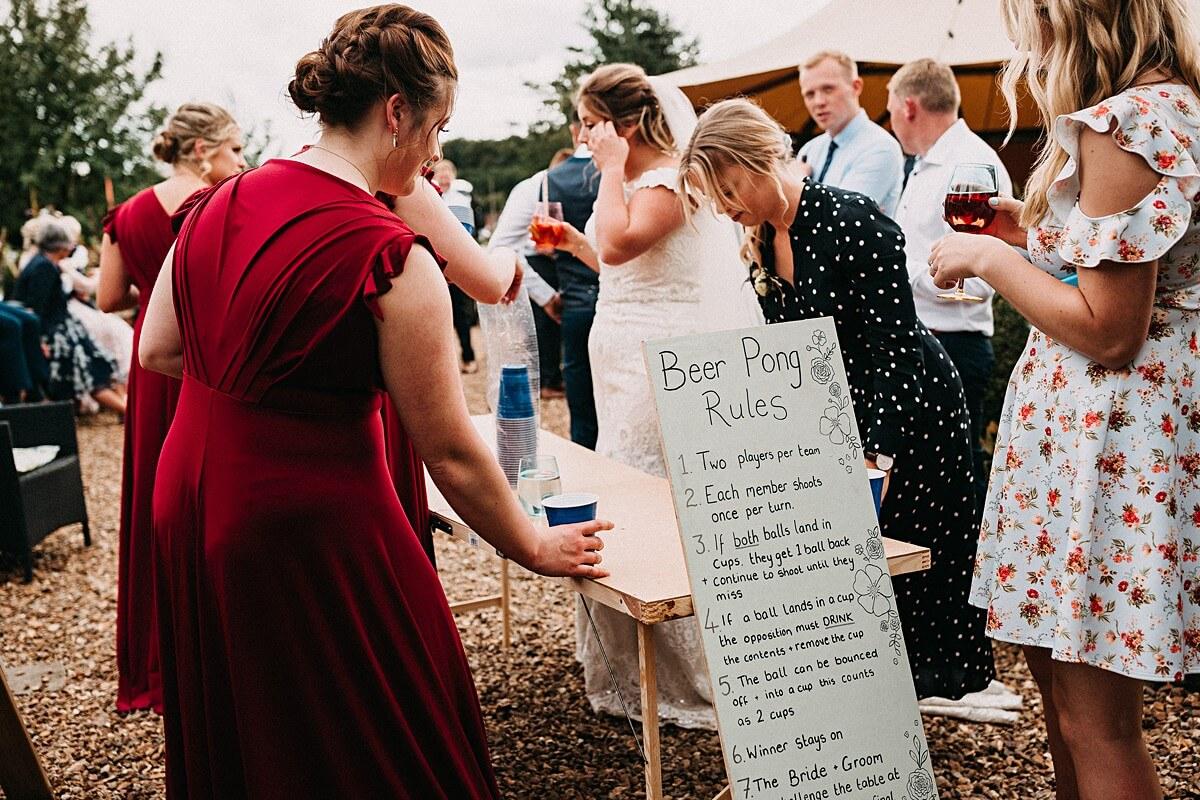Beer Pong wedding game
