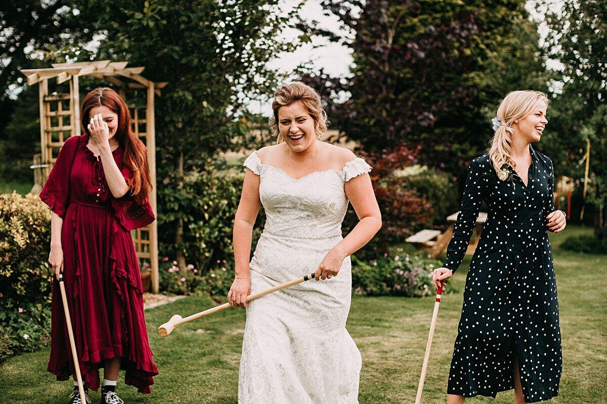 Fun garden games at the outdoor wedding